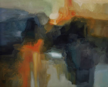 Original abstract painting, oil on canvas by Canadian Artist Rose-Marie Kossowan