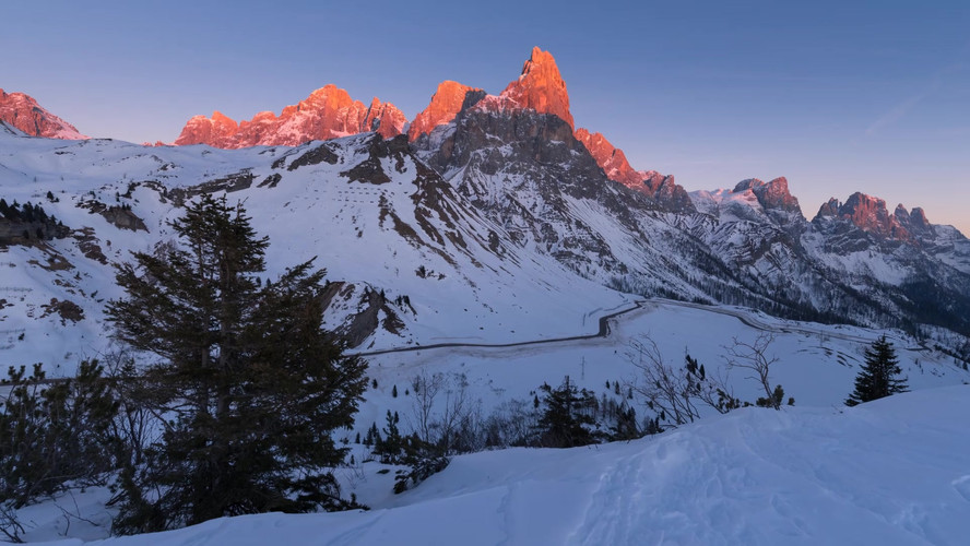 Time lapse tramonto Passo Rolle.mp4