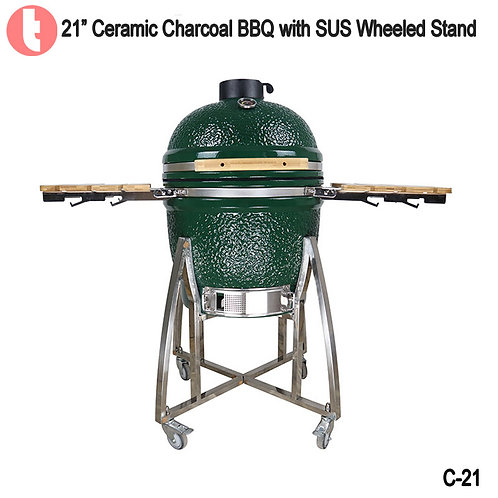 C-21, 21 Inches SUS Cart Charcoal Kamado Smoked BBQ Grill
