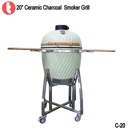 C-20, 20 Inches SUS Cart Charcoal Kamado Smoked BBQ Grill