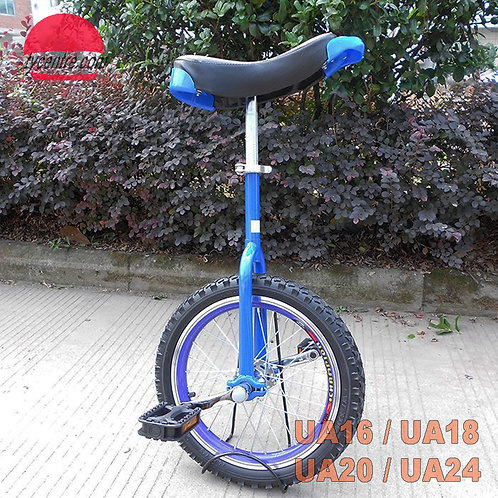 """UA-16SB, 16"""" Unicycles with shoulder A fork and different rims."""