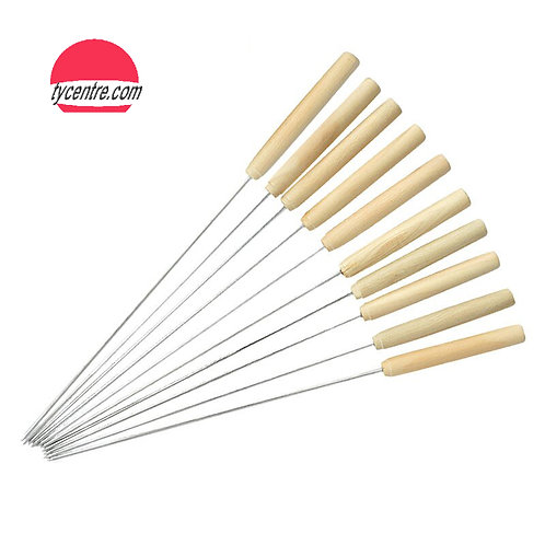 SK01-5, Wholesale S/S BBQ Round Skewers with Wood Handle.