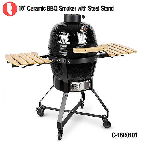 """C-18R0101,  18 """" Steel Ceramic Charcoal Grill Kamado BBQ"""