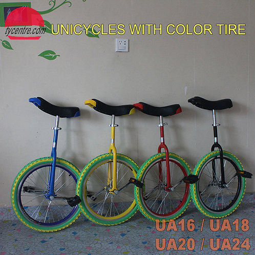 """UA-16SC, 16"""" Unicycle with Color Tire and Different Rims"""