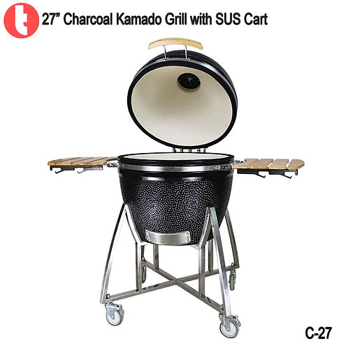 C-27, 27 Inches Charcoal Cart Kamado Smoked BBQ Grill