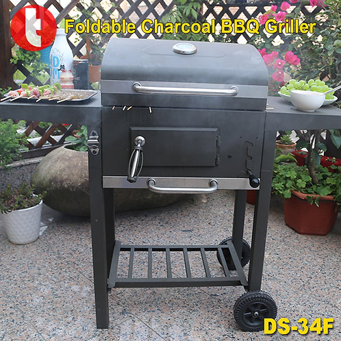DS-34F, Foldable Rollaway Big Square Charcoal BBQ Griller.