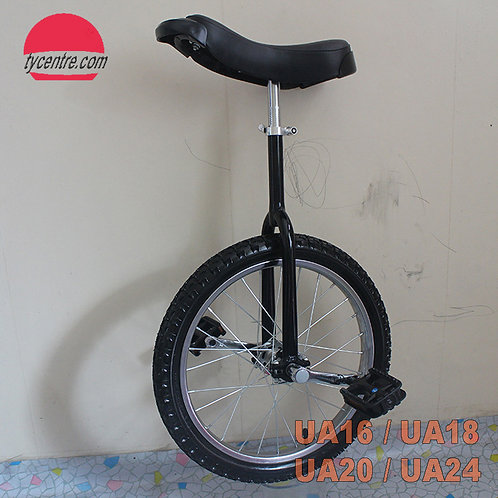 """UA-20SB, 20"""" Unicycles with shoulder A fork and different rims."""