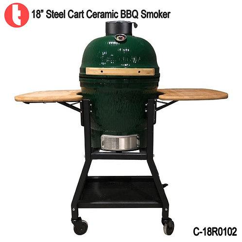 """C-18R0102,  18 """" Steel Cart Ceramic Charcoal Kamado BBQ Grill"""