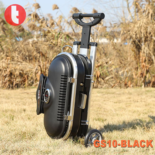 GS-10, Black Portable Gas Griller in Case Design with Wheels.