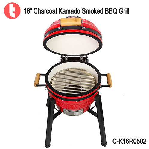 C-16K0502, 16 Inches Charcoal Cart Kamado Smoked BBQ Grill