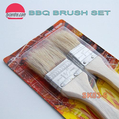 SK03-6, Wood BBQ Brush Sets (2pcs)