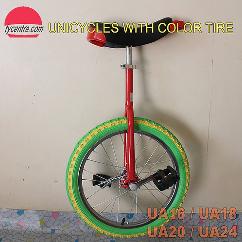 "UA-18SC, 18"" Unicycle with Color Tire and Different Rims"