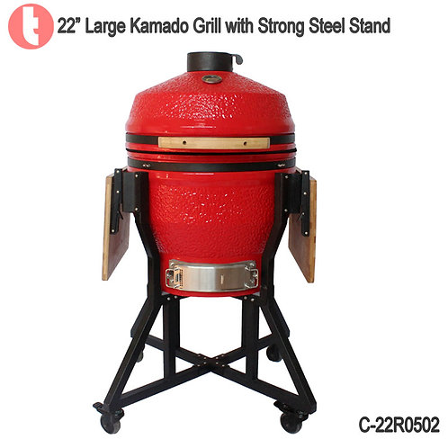 C-22R0502, Charcoal Kamado Smoked BBQ Grill Steel Cart