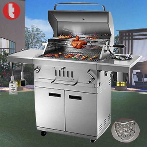 DS-33, Stainless Steel Charcoal BBQ Smoker