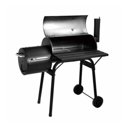DS-35M, Medium Roll-away Charcoal Grill Gourmet BBQ Offset Smoker Black
