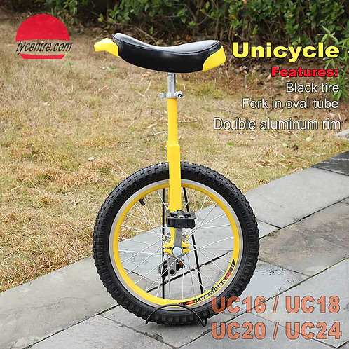 "UC-16 series, 16"" Unicycles with 'C' Fork, different rims and tires"