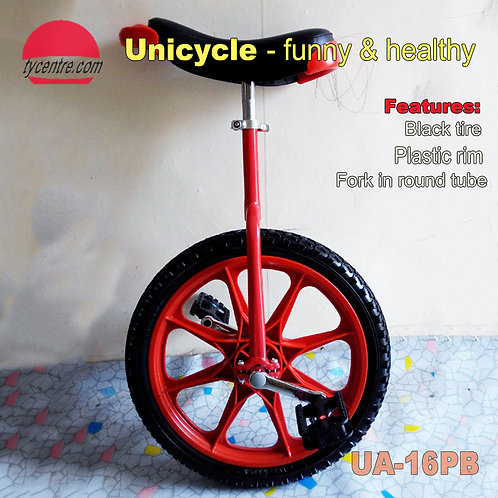 "UA-16PB, 16"" Unicycle with Plastic Tire and Multi Color."