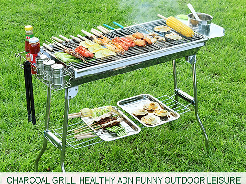 DS-03L, 73cm Luxury Foldable Stainless Steel Charcoal BBQ Grills