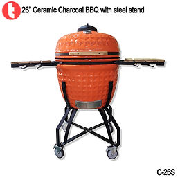 "C-26, 26"" Ceramic Kamado BBQ Grills for Backyard"