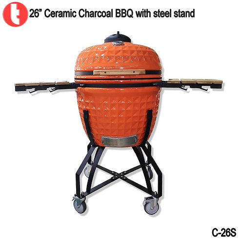 C-26, 26 Inches Charcoal Cart Kamado Smoked BBQ Grill