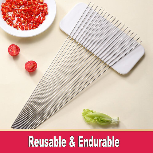 SK01-2, Reusable Stainless Steel Skewers for BBQ Grill.
