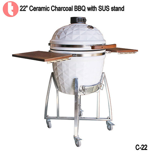 C-22, 22 Inches SUS Cart Charcoal Kamado Smoked BBQ Grill
