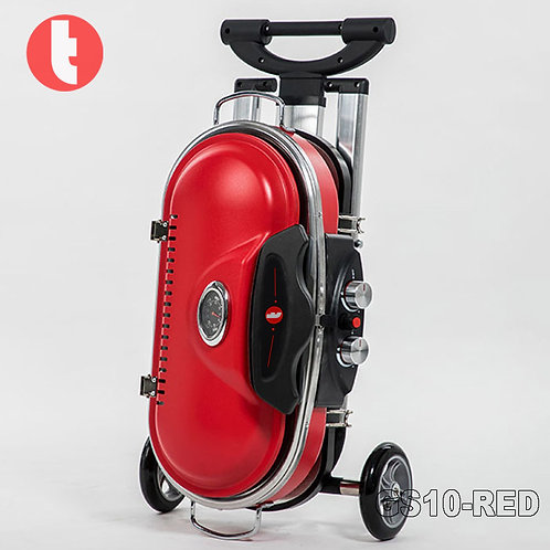 GS-10, Red Portable Gas Griller in Case Design with Wheels.