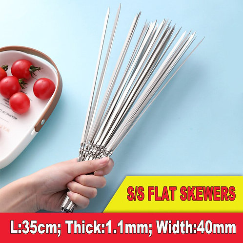 SK01-3, Reusable Stainless Steel Flat Skewers for BBQ.