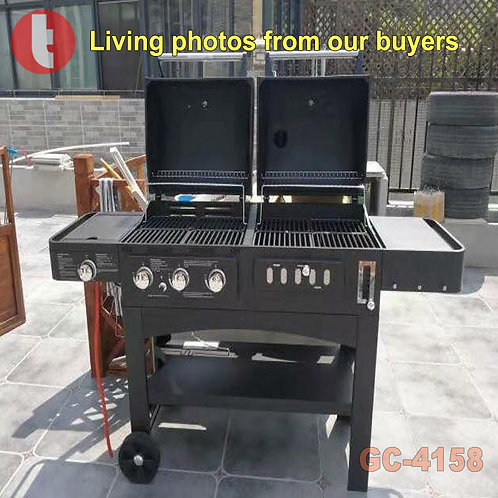 GC-4518, Kingbox Charcoal and Gas BBQ Griller with 3-in-1 Use.