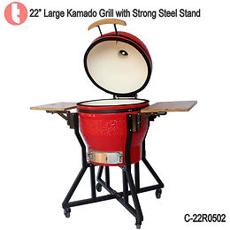 "C-22R0102, 22"" Kamado BBQ Grill with Steel Cart"