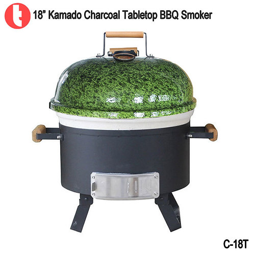 "C-18T,  18 "" Tabletop Charcoal Ceramic Grill Kamado Smoker"