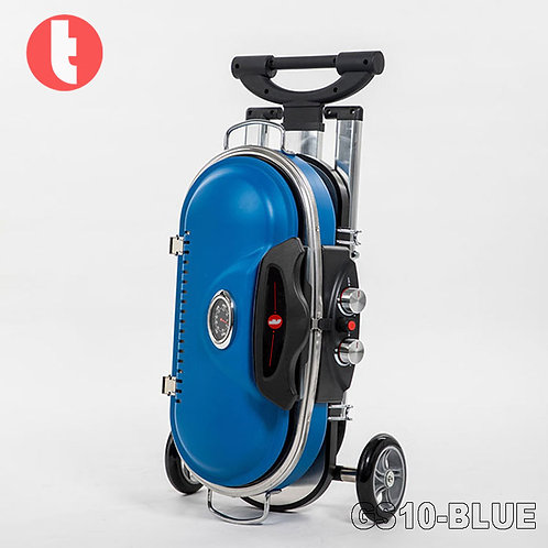 GS-10, Blue Portable Gas Griller in Case Design with Wheels.