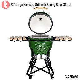 "C-22R0101, 22"" Kamado BBQ Grill with Steel Cart"