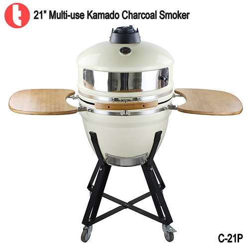 C-21P, 21 Inches Charcoal Kamado Pizza Smoker BBQ Grill
