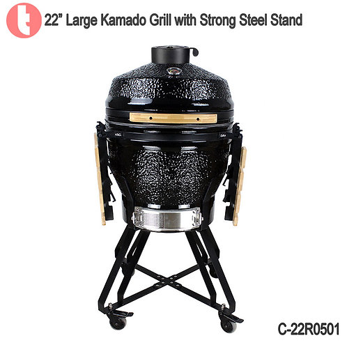 C-22R0501, Steel Cart Charcoal Kamado Smoked BBQ Grill