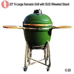 "C-23, 23"" Kamado BBQ Grill with Stainless Steel Cart"