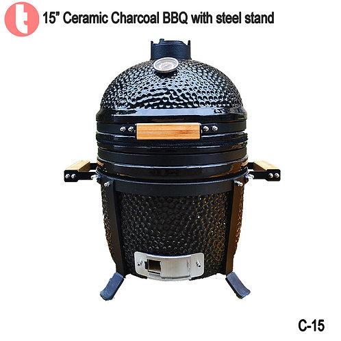 "C-15,  15 "" Tabletop Ceramic Charcoal Kamado BBQ Smoker"