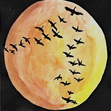 Moon When Geese Return In Scattered Formation