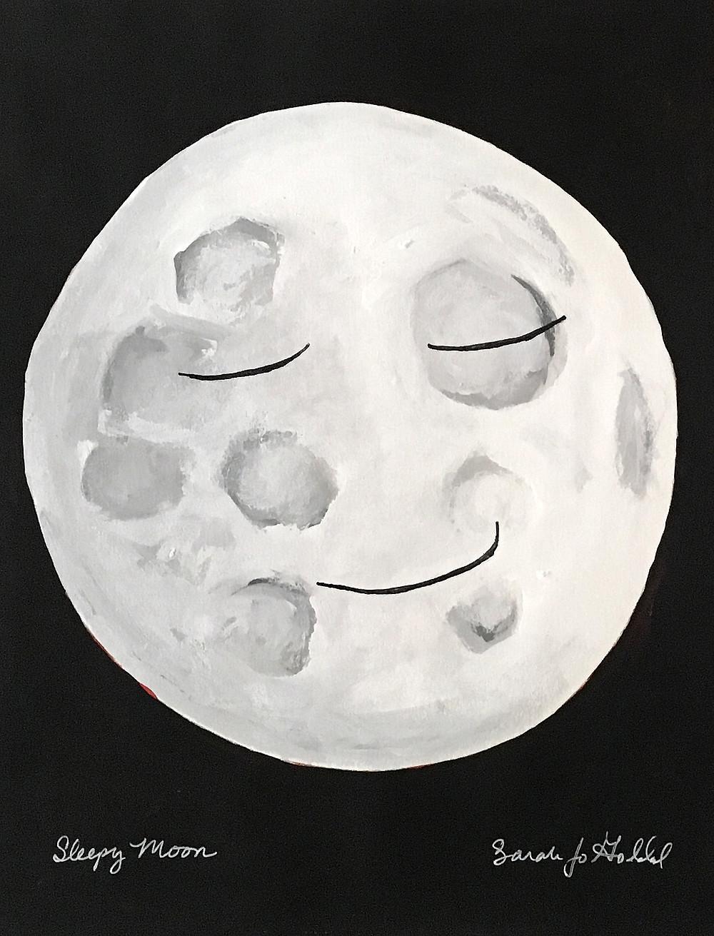 Sleepy Moon Black Background