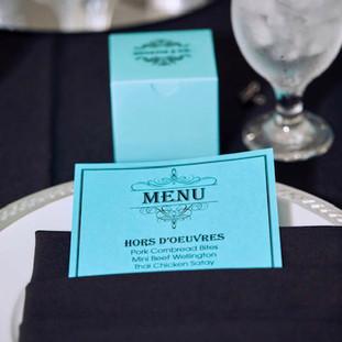 menu and favor box