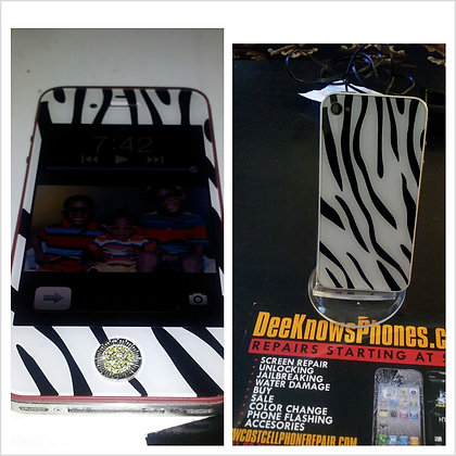 Zebra Iphone 4 or 4s with Special Home Button