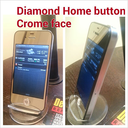 Chrome Iphone 4 or 4s Front with Diamond hm button