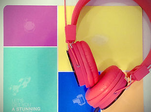 Red headphones on Wix pad