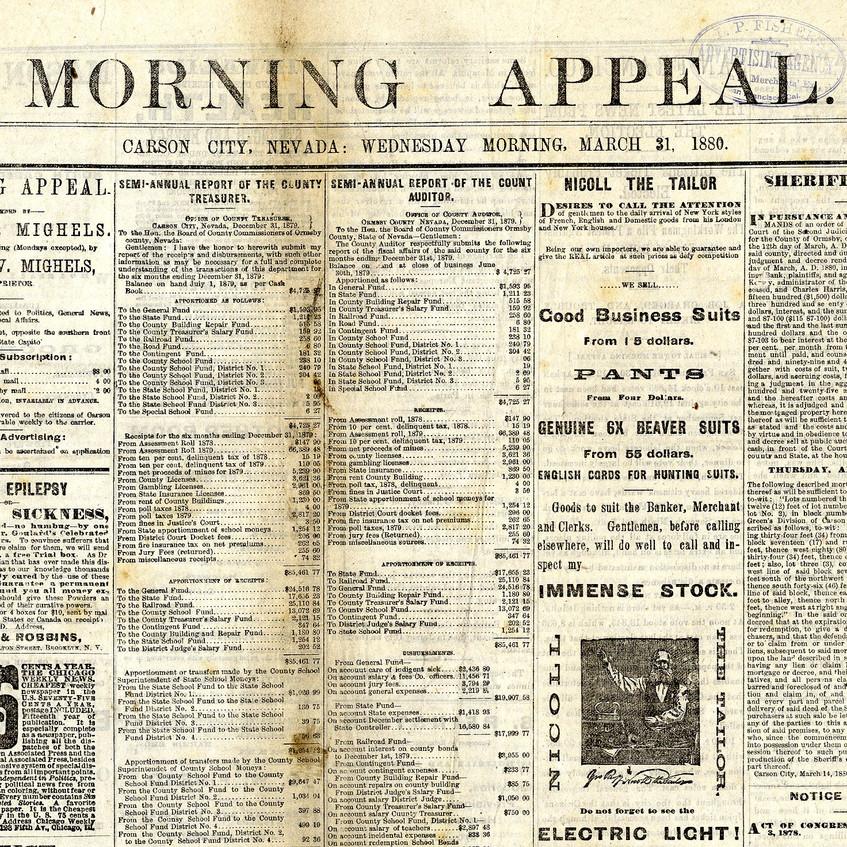 Yellowed Late 19th Century Newspaper