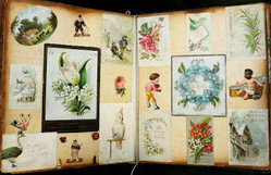 Cards in decaying scrapbook