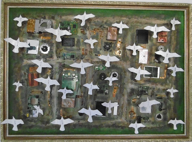 passarinhos voando sobre o mundo cheio de lixo - birds are flying over the world full of garbage
