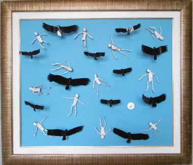 Urbus voando sobre refugiados - Vultures flying over deceased refugees at seafalecidos no mar -