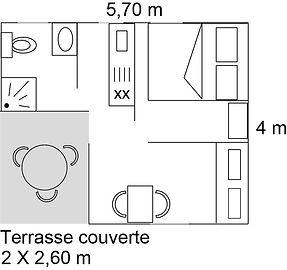 Plan du bungalow 1 à 3 pers.
