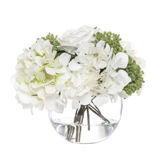 Rose Hydrangea Bouquet in Glass Bowl