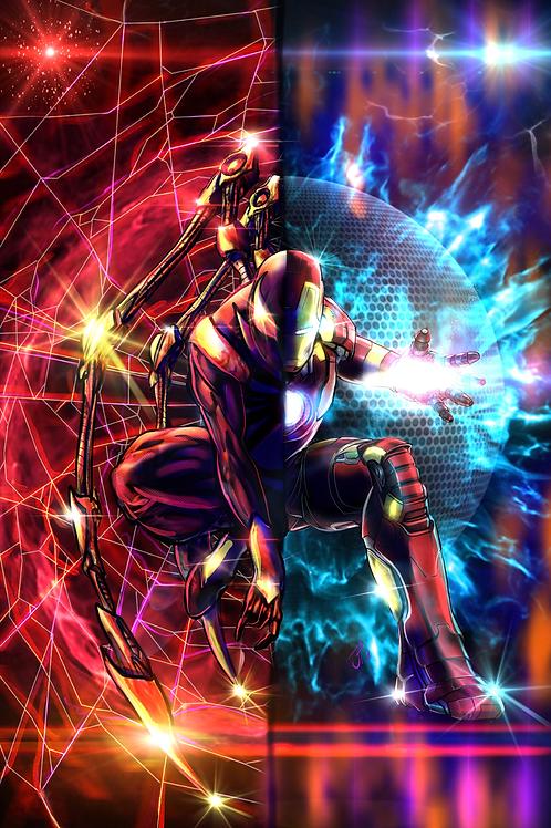 """One Spider, One Man, Both Iron"" Art Print"
